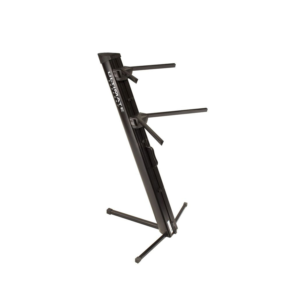 ULTIMATE TWO-TIER PORTABLE COLUMN KEYBOARD STAND (Black)
