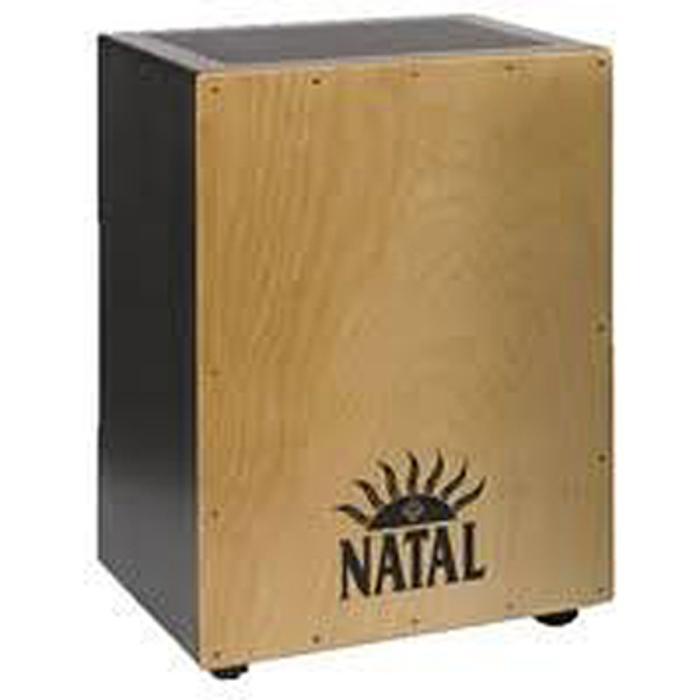 NATAL CAJON EXTRA LARGE LOGO BLACK NATURAL FRONT PANEL 1
