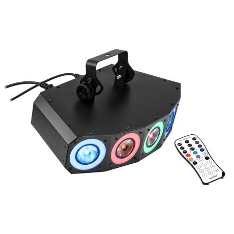 EUROLITE 2IN1 LED EFFECT LIGHT WITH RGBAW+UV LEDS, DYNAMIC COLOR EFFECTS AND STROBOSCOPE 1