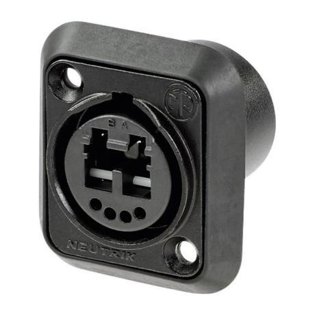 NEUTRIK CHASSIS CONNECTOR-BLACK CHROM PLATING-4 SOLDER CONTACTS