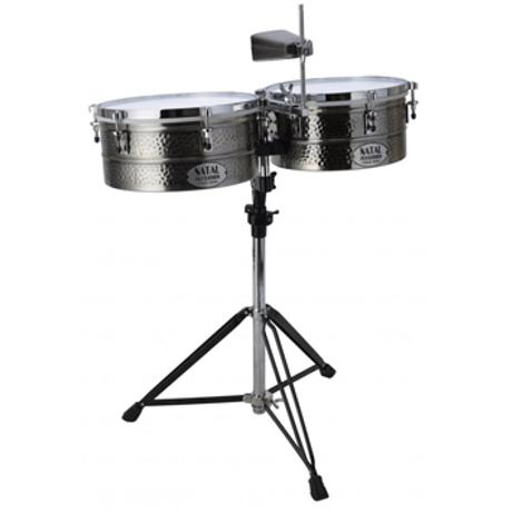 NATAL BRASS TIMBALES 12''&13'' WITH STAND 1
