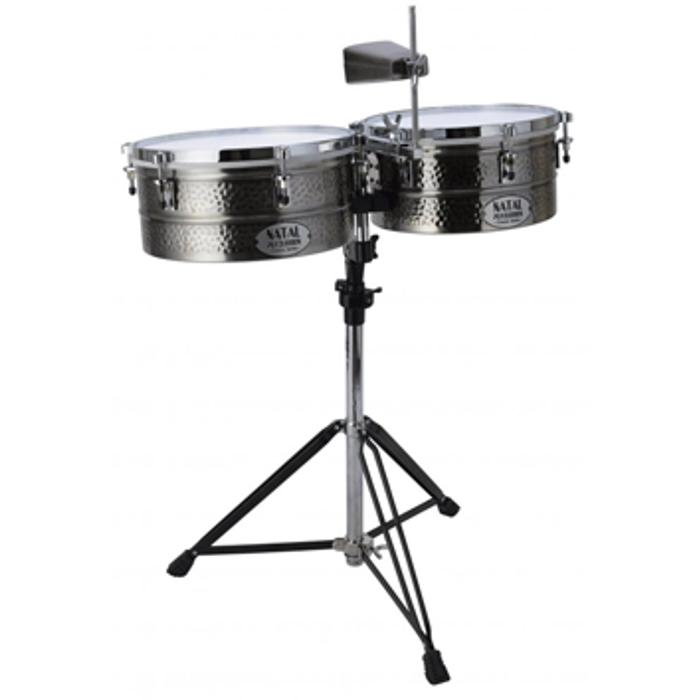 NATAL BRASS TIMBALES 12''&13'' WITH STAND