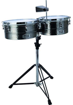 NATAL BLK NICKEL TIMBALES 13''&14'' WITH STAND
