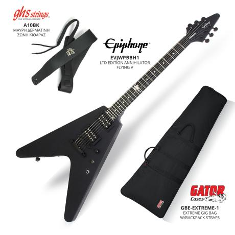 EPIPHONE LTD EDITION ANNIHILATOR FLYING V+GIG BAG+LEATHER BELT BLACK 1