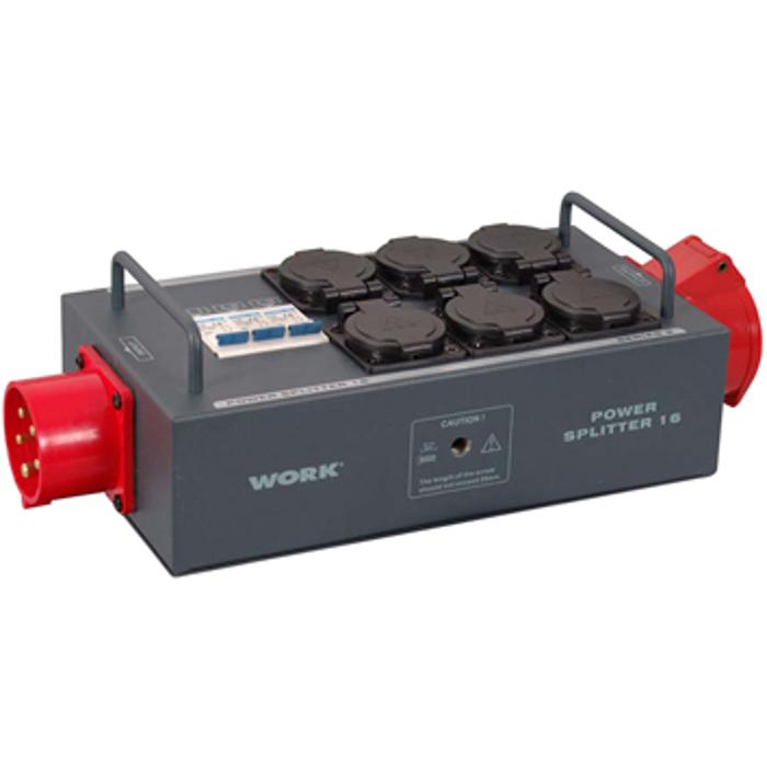 WORK 16 A TRI-PHASE POWER SPLITTER ,LINKED CEE (5PIN) I/O CONNECTORS AND 6 SCHUKO OUTPUTS WITH SAFETY LID. 1