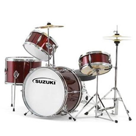 SUZUKI 5pcs Drum set w/cymbals & throne, colour:Wine Red