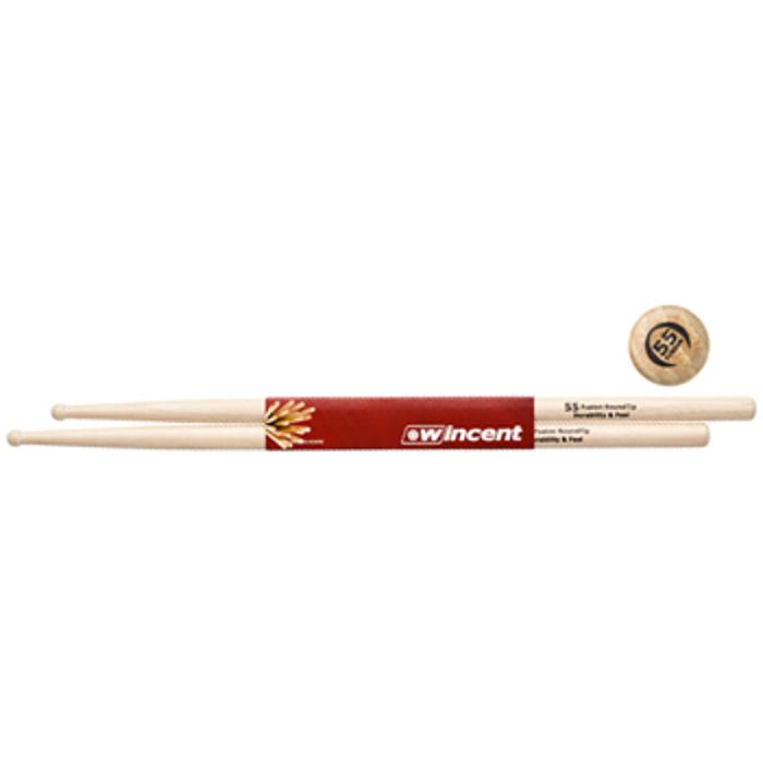 WINCENT MAPLE DRUMSTRICKS ROUND TIP FUSION 1