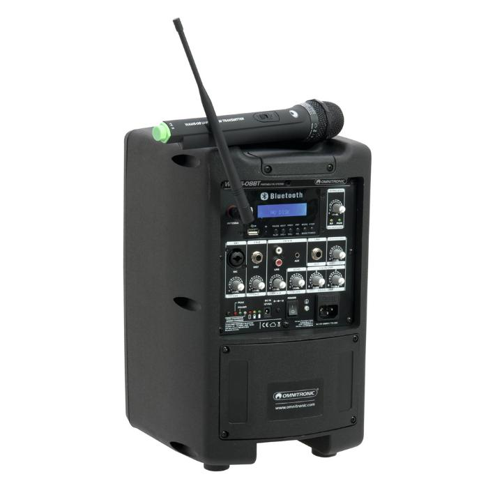 OMNITRONIC PORTABLE WIRELESS ACTIVE SPEAKER PA SYSTEM 8'' 2